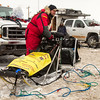 Nathan Schroeder's preping his sled before the 2014 John Beargrease Marathon race