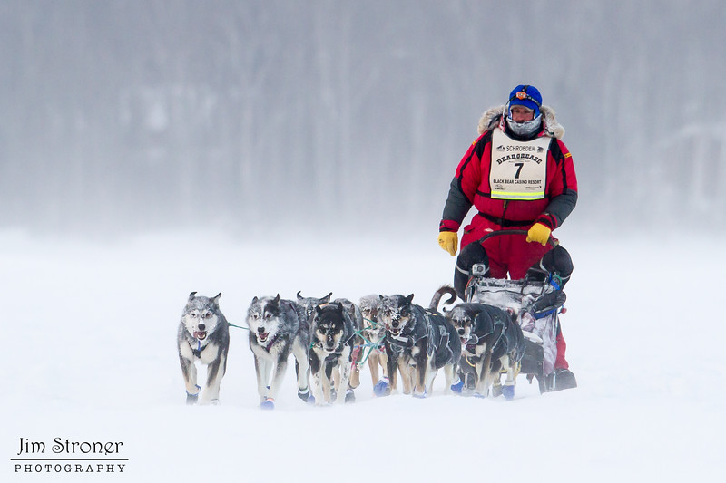 Nathan Schroeder on Devil Track lake during the 2014 John Beargrease Marathon race