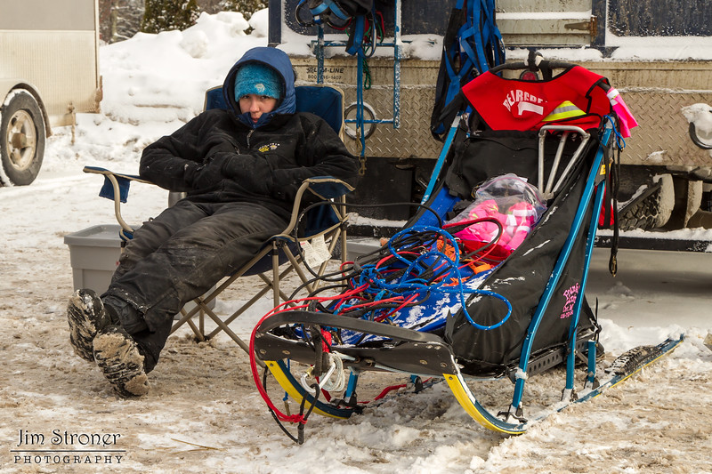 Dusty Klaven chillin' before the start of the 2014 John Beargrease Mid-Distance race