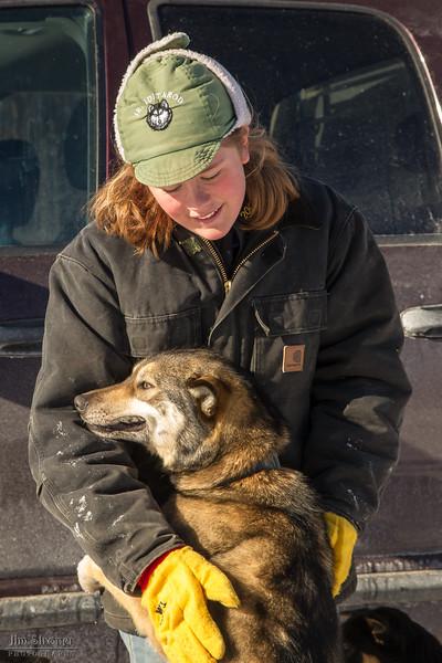 Elizabeth Nelson at 2014 John Beargrease Sled dog race vet check