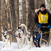 Alison Critchfield on the trail near Outing during the Mid-Minnesota 150 sled dog race