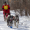 Ann Schultz on the trail near Windy Lake during the Mid-Minnesota 150 sled dog race