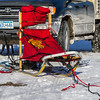 Bob Johnson's sled at the start of the Mid-Minnesota 150 sled dog race
