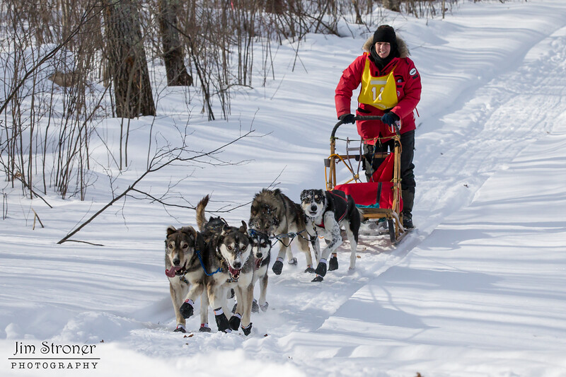 Darcy Nord on the trail near Outing during the Mid-Minnesota 150 sled dog race