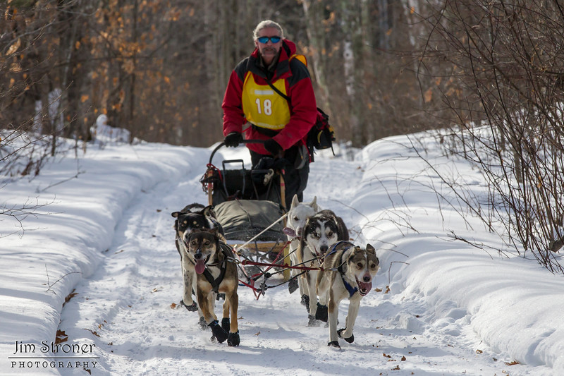 Jay Malchow on the trail near Windy Lake during the Mid-Minnesota 150 sled dog race