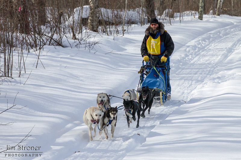 Neal Seeger on the trail near Outing during the Mid-Minnesota 150 sled dog race