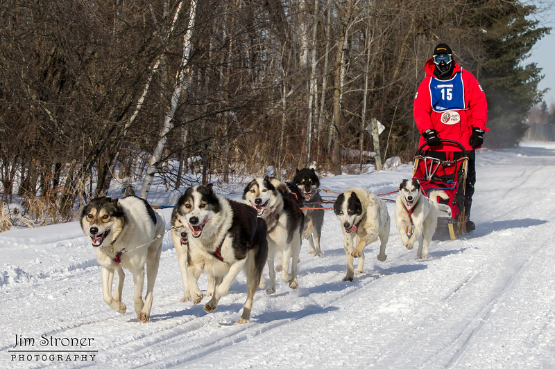 Saul Ellering on the trail near Remer at the start of the Mid-Minnesota 150 sled dog race