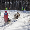 Saul Ellering leaving Windy Lake during the Mid-Minnesota 150 sled dog race