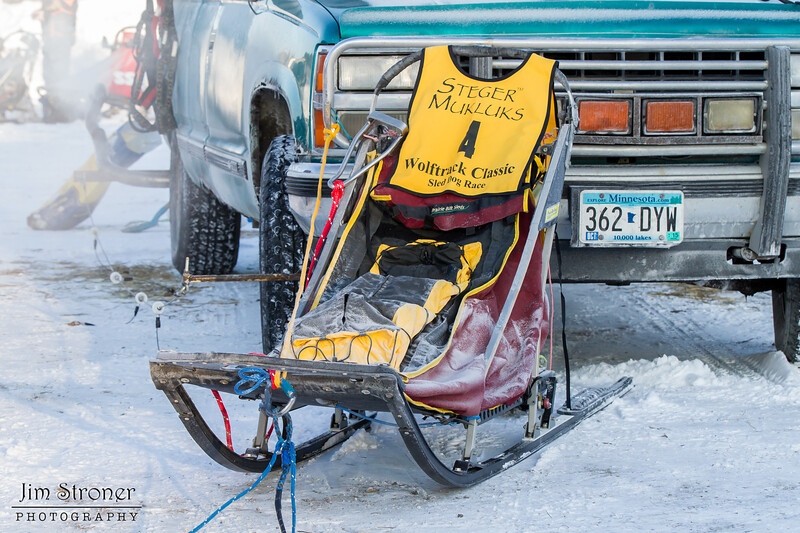Darcy Stanley-Nord's sled before the start of the 2015 WolfTrack Classic