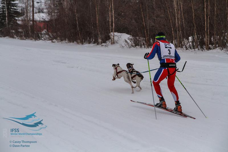 Mike Christman (USA) - 2013 IFSS Men 2-Dog Skijor Day 1