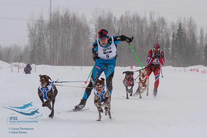 Samuli Nissenen (Finland), Svein Ivar Moen (Norway) - 2013 IFSS Men 2-Dog Skijor Day 1