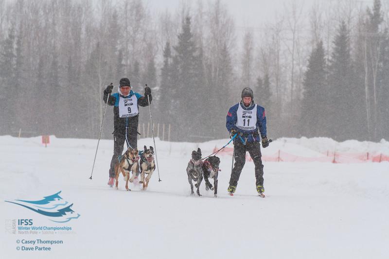 Philip Friedlander (Australia), Andrew Warwick (USA) - 2013 IFSS Men 2-Dog Skijor Day 1