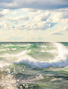 Sparkly, crashing waves on Lake Michigan near Manistee, Michigan