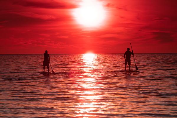Saharan Dust Cloud Paddle Board Sunset