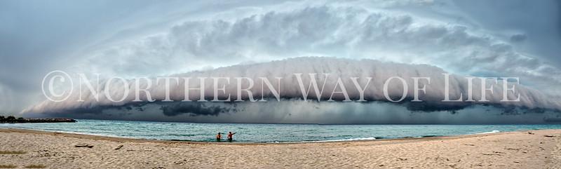 Panorama of Shelf Cloud Storm over Lake Michigan: Leland, Michigan