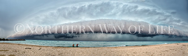 Panorama of shelf cloud coming from Lake Michigan onto the shores of Leland, Michigan