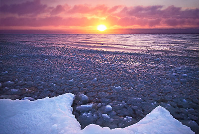 Icy Sunrise over West Grand Traverse Bay: Suttons Bay, Michigan