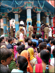Queuing up for a glimpse of God Brahma at the lone Brahma  Temple in the world.  BRAHMA TEMPLE, PUSHKAR, RAJASTHAN, INDIA | NOV 2013