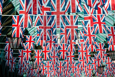 Apple Market dacorated with Union Jacks, Covent Garden, London, United Kingdom
