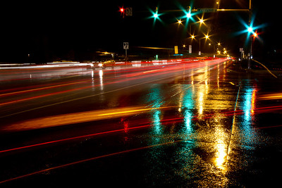 Fast action, wet street....