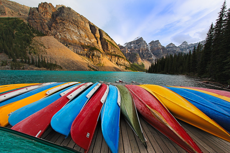 Colorful Boats on a Dock, Moraine Lake, Banff National Park, Alb
