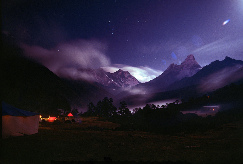 Evening, Tents, Ama Dablam Mountain on the righthand side, Taken from Tengboche, Himalayan Mountains, Nepal, Asia