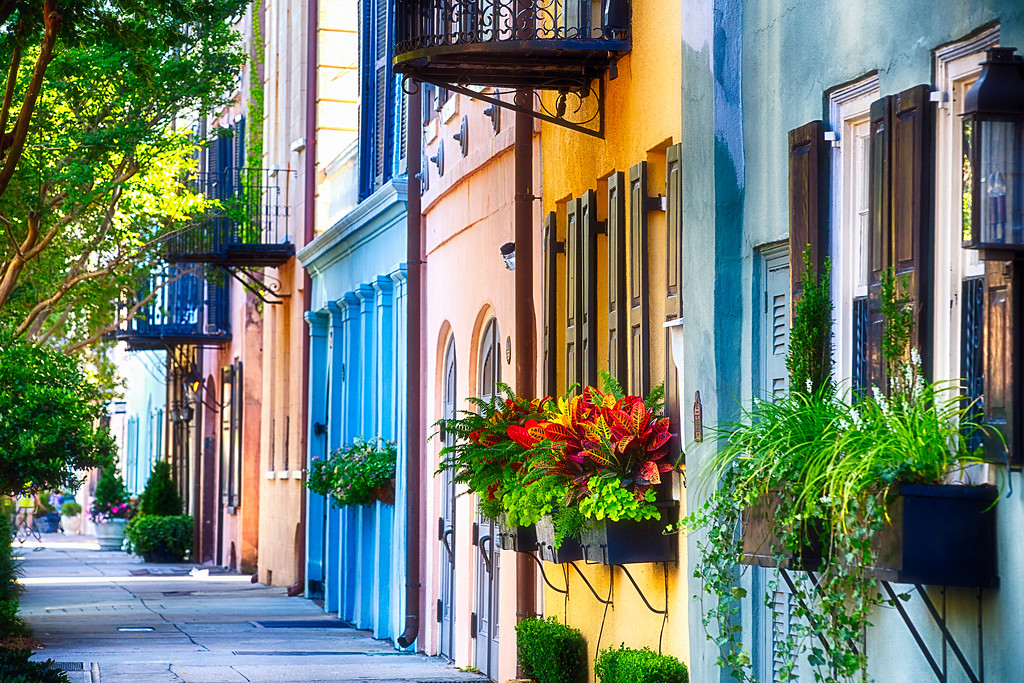 Row of Colorful Historic Houses, Rainbow Row, East Bay Street, Charleston, South Carolina
