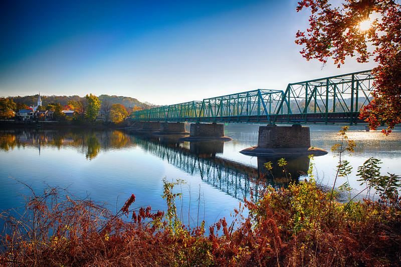 Autumn Morning View of the New Hope-Lambertville Bridge Spanning the Delaware River , New Hope, Pennsylvania