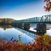 Autumn Morning View of the New Hope-Lambertville Bridge Spanning the Delaware River , New Hope, Pennsylvania