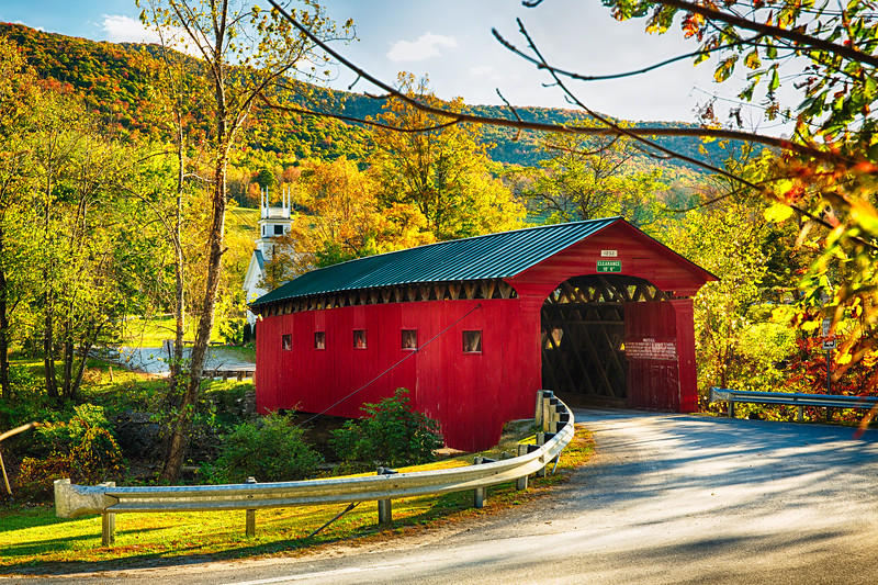 Red Covered Bridge and a Curch, Vermont