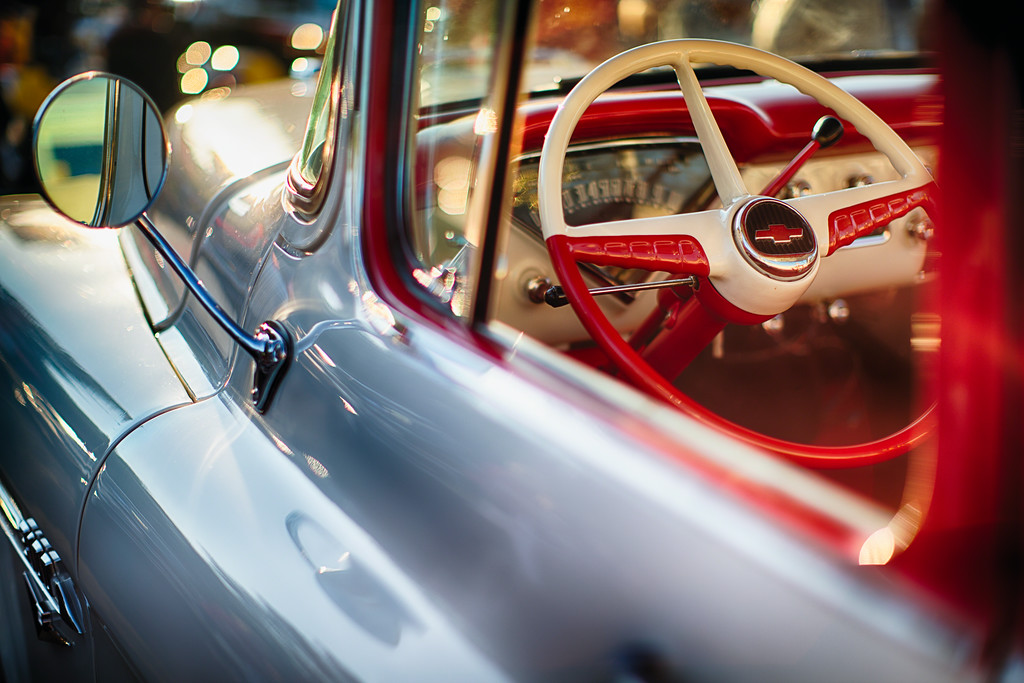 Classic Chevrolet Pick Up Truck Steering Wheel View