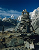 Summit Cairn, Chukung Ri,  Nuptse Glacier, Pumori in the Background, Khumbu Region, Himalayan Mountains, Nepal, Asia, 6x7 medium format image