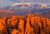 Sunset, La Sal Mountains above Sandstone Fins, Arches National Park, Moab, Utah, United States, North America