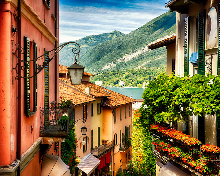 High Angle View of a Street with Balconies , Bellagio, Lake Como, Lombardy, Italy