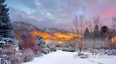 Dawn light on the Eastern Sierras, Job's Peak on the left.