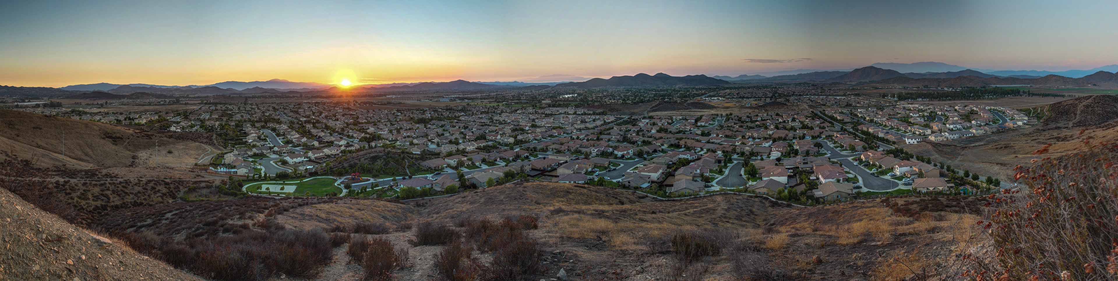 Panorama from the hill next to Bell Mountain, Menifee, CA