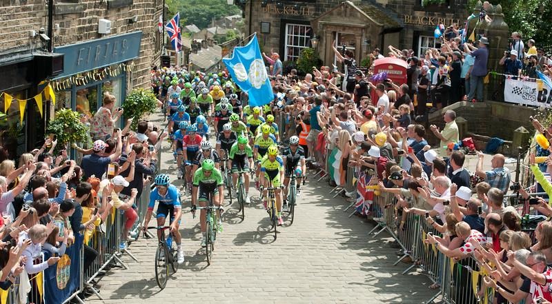 The Tour de France rides through Haworth, West Yorkshire.
