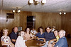 Clockwise around the table from front -- Bob Berning, Karen Berning, Uncle Bob, Brenda, Aunt Pat, Uncle Jack, Art Nylen (one of mother's cousins), Uncle George.