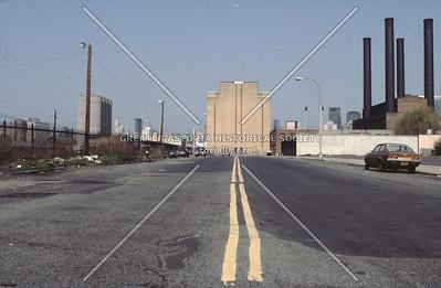 Borden Avenue at Vernon Blvd, looking west toward Queens Midtown Tunnel ventilation shaft, Hunters Point