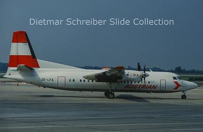 OE-LFA Fokker F50 (c/n 20122) Austrian Air Service; Austrian Airlines