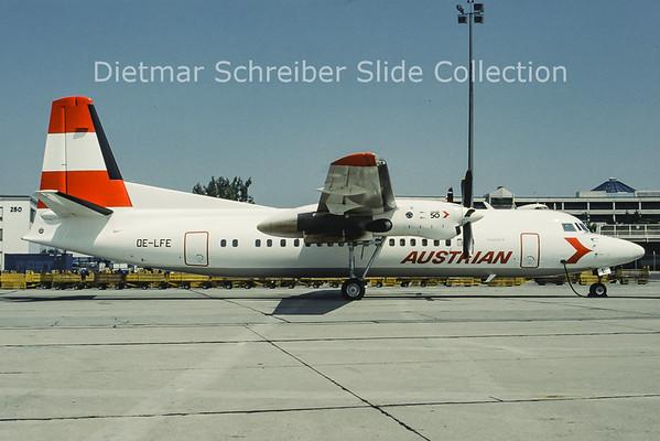 OE-LFE Fokker F50 (c/n 20227) Austrian Air Service; Austrian Airlines
