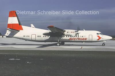 1993-03 OE-LFA Fokker F50 (c/n 20122) Austrian Air Service; Austrian Airlines