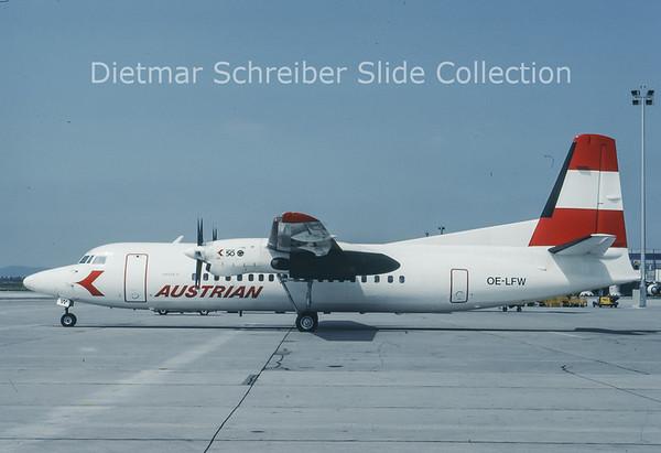 1993-08 OE-LFW Fokker 50 Austrian Air Service