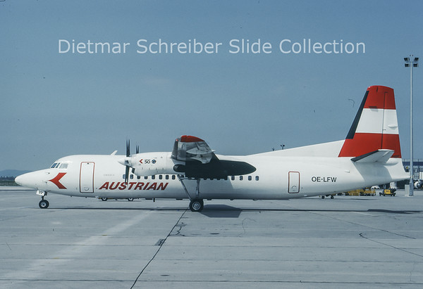 1993-08 OE-LFW Fokker F50 (c/n 20115) Austrian Air Service; Austrian Airlines