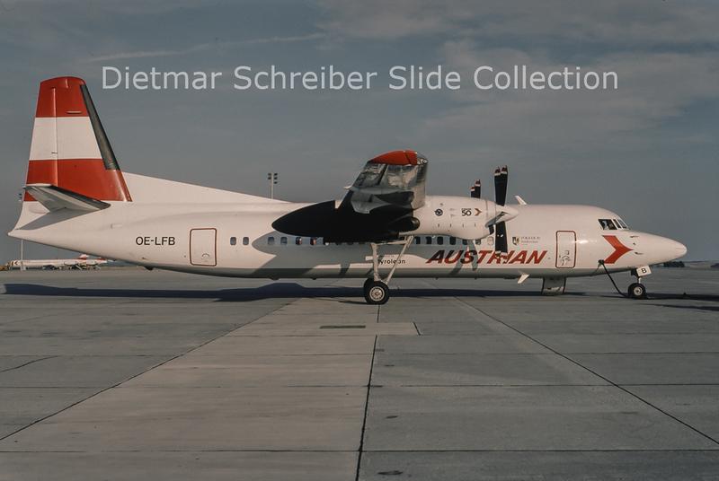 1994-08 OE-LFB Fokker F50 (c/n 20123) Tyrolean Airways