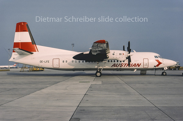 1995-05 OE-LFE Fokker 50 Tyrolean Airways; Austrian Airlines
