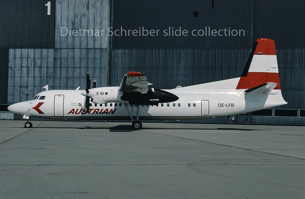1993-09 OE-LFB Fokker 50 Austrian Air Service; Austrian Airlines