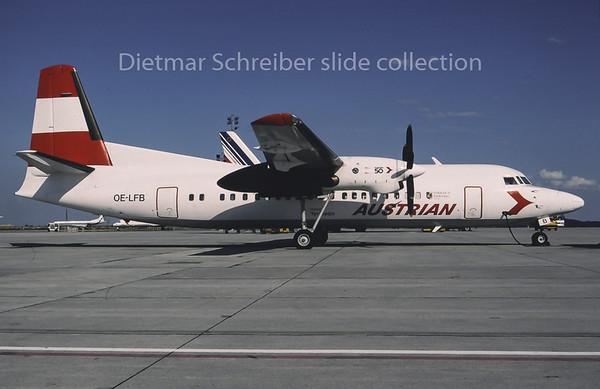 1995-07 OE-LFB Fokker 50 Tyrolean Airways, Austrian Airlines