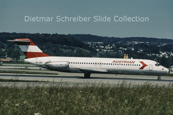 1986-07 OE-LDH Douglas DC9-32 (c/n 47555) Austrian Airlines