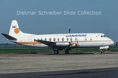 1987-10 EC-DXU Vickers Viscount 806 (c/n 264) Lineas Aereas Canarias